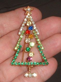 Xmas Tree Brooch Green Red Blue Purple Rhinestone Winter Holiday Festive Pin | eBay