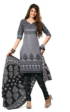 BLACK & GREY COTTON SALWAR KAMEEZ - DISH 1025