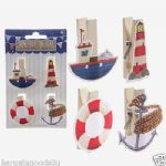 Funky Nautical Design Pack of 4 Decorative Pegs