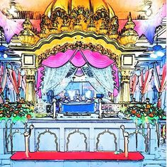 the artist's canvas Beautiful Sikh Art from the Bangkok Gurdwara. Repost from @smartsinghsbangkok