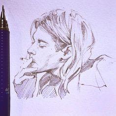 It's Kurt Cobain's birthday! Kurt Cobain Art, Kurt Cobain Painting, Kurt Cobain Tattoo, Kurt Cobain Quotes, Art Nirvana, Arte Sketchbook, Parkour, Pencil Portrait, Animes Wallpapers