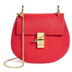 Women's Chloe 'Drew' Leather Crossbody Bag (2,935 BAM) ❤ liked on Polyvore featuring bags, handbags, shoulder bags, purses, plaid red, leather crossbody, leather cross body purse, leather crossbody purse, genuine leather handbags and leather handbags