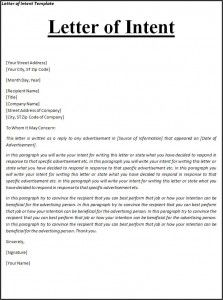 Letter Of Intent Template Letter Of Intent Business Letter Sample