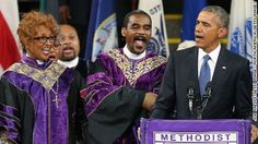 """CHARLESTON, SC - JUNE 26:  U.S. President Barack Obama sings """"Amazing Grace"""" as he delivers the eulogy for South Carolina state senator and Rev. Clementa Pinckney during Pinckney's funeral service June 26, 2015 in Charleston, South Carolina. Suspected shooter Dylann Roof, 21, is accused of killing nine people on June 17th during a prayer meeting in the church, which is one of the nation's oldest black churches in Charleston.  (Photo by Joe Raedle/Getty Images)"""