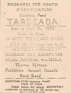 Progress for Youth Organization Tardeada :: Latino Archives