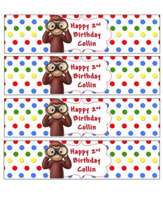 Curious George Birthday Party Water Bottl