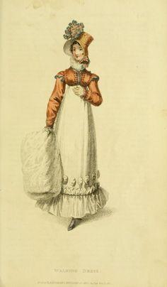 Walking dress the year Jane Austen died Jane Austen, Regency Dress, Regency Era, 1800s Fashion, Vintage Fashion, Vintage Clothing, Corsage, Historical Clothing, Historical Dress