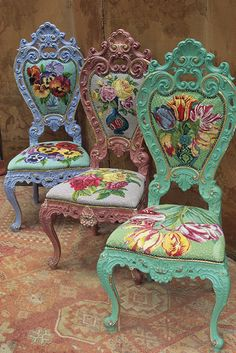 "Camp chairs Fassett covered with needlepoint florals, he called them ""Gibson Girls"" (1985-87)"