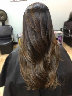 Caramel honey Ombre for Asian ethnic hair types // brown highlights for dark hair // warm tones for black hair types