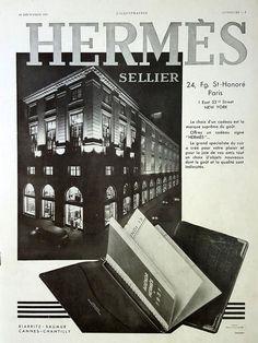 HERMES Sellier vintage advertising, French magazine ad Hermes building in Paris poster, original art deco Hermes vintage ad, retro poster