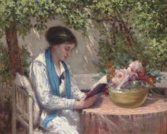"""A Read in the Garden,"" by Gennaro Befanio, Italian, 1866-1911"