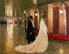 An elegant couple entering a box at the Paris Opera. - Jean-Georges Béraud - The Athenaeum La Belle Epoque Paris, Belle Epoch, Jean Beraud, Festival Avignon, French Impressionist Painters, Jean Georges, Beaux Arts Paris, Elegant Couple, Old Paris