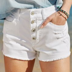 Nothing says summer like frayed white denim & braided bracelets.