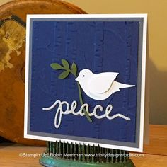 Bird Punch Christmas Peace with Woodland EF / Trinity Designs: Take Two Tuesday - Live Cardmaking Class on Periscope! Christmas Bird, Christmas Cards To Make, Xmas Cards, Christmas Greetings, Holiday Cards, Cards Diy, Scrapbooking, Scrapbook Cards, Bird Cards