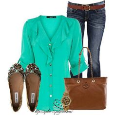 Turquoise, Brown, Leopard, Jeans Outfit