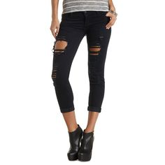 "Charlotte Russe Refuge ""Boyfriend"" Destroyed Cropped Jeans ($21) ❤ liked on Polyvore featuring jeans, dark rinse denim, boyfriend jeans, ripped skinny jeans, ripped denim jeans, baggy jeans and destroyed boyfriend jeans"