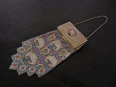 Vintage Whiting Davis Metal El SAH Mesh Compact Purse Deco Enamel Vanity Bag | eBay