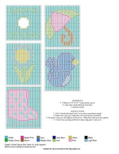Happy Spring Tissue Cover Pg. 2/2 Plastic Canvas Coasters, Plastic Canvas Tissue Boxes, Plastic Canvas Crafts, Plastic Canvas Patterns, Box Patterns, Beading Patterns, Stitch Patterns, Tissue Box Holder, Tissue Box Covers