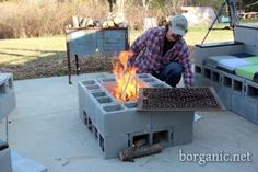 You can also create a coffee table/fire pit out of your cement blocks. We created an enclosure out of the blocks and made a base in the open center with sand. An old metal grate can be placed over the top. The cement blocks may disintegrate over time with extended fire use. Simply replace the blocks or to make more withstanding to continuous fires, line the center with fire bricks.