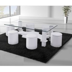 Aquatic Coffee Table In Clear Glass Top With 6 White Poufs