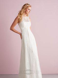 Simple Slim A-line Sheer Illusion Neckline Wedding Dresses