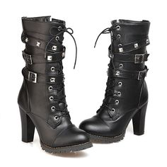 Mostrin Women Motorcycle High Heels Punk Buckle Rivet Strap Combat Military Mid Calf Boots * See this great product.