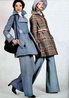 1970s - Maurice Daquin & Chloe L'officiel magazine 1973 vintage fashion photo print ad models blue grey suit wool jacket pants plaid wide leg