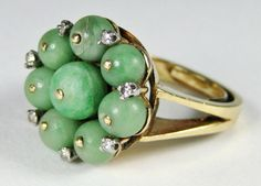 Fine Old Antique Chinese Carved Jade Diamond 14k Gold Bead Ring 10.2gr