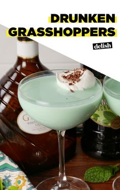 Drunken Grasshoppers are like liquid Andes Mints. Get the recipe at Delish.com. #recipe #easyrecipe #liquor #drinking #chocolate #mint #alcohol #drinks #cocktails #cocktailrecipe #vodka #cocktailrecipes