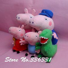 High quality 20-30cm Peppa Pig Doll Stuffed Toy Peppa pig plush GEROGE Dinosaur peppa geroge grandpa Grandma 5 pcs free shipping