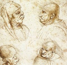 30. Five Caricature Heads, 1490, ink on paper, 18 x 12 cm
