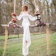 Affordable Unique Design Lace Top Long Sleeves Mermaid Long Wedding Dress, BG51581