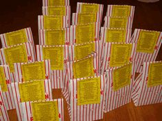 "Classroom Theme - ""Hollywood"". Popcorn bags with welcome items correlating to a sweet welcome poem"