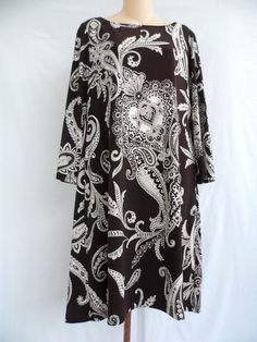 Peck & Peck Collection Stretch Paisley 3/4 Sleeve Shift Dress Brown Size 8 EUC #PeckPeck #Shift #Casual