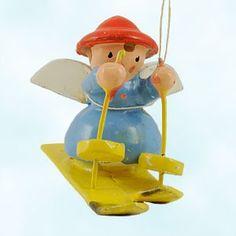 Vintage German Angel Skier wooden Christmas Ornament