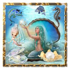 Mermaids, Frame, Polyvore, Painting, Home Decor, Art, Picture Frame, Art Background, Painting Art