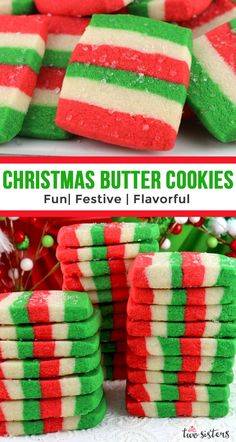 Christmas Butter Cookies We've taken a classic Holiday cookie up a level with some pretty Christmas colors. These pretty and delicious Christmas Butter Cookies will be a big hit at your Christmas gathering this year! Christmas Deserts, Christmas Goodies, Holiday Desserts, Christmas Candy, Holiday Baking, Holiday Treats, Christmas Colors, Christmas Recipes, Best Holiday Cookies