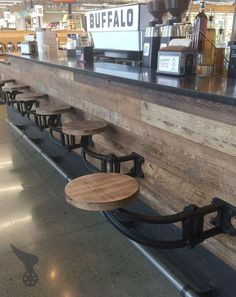 Wall-Mounted Cast Iron & Poplar Swing-Out Bar Stool / Seating For Kitchen Islands Patios Bars Restaurants Counters Grill Areas Island Stools, Stools For Kitchen Island, Counter Bar Stools, Kitchen Islands, Kitchen Counters, Bar Countertops, Coffee Shop Counter, Cafe Counter, Outdoor Kitchen Countertops