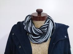 Noodle scarf black scarf black noodle scarf infinity by AtlasScarf