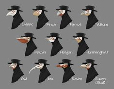 "squidvonbob: ""Plague Doctor masks based off of different birds "" Plague Mask, Plague Doctor Mask, Plauge Doctor, Doctor Drawing, Chibi, Mask Drawing, Bird Masks, Different Birds, Dibujos Cute"