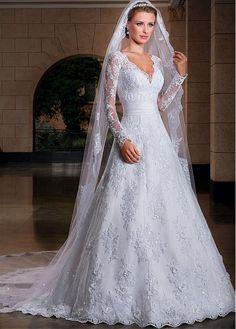 Buy discount Elegant Lace V-neck Neckline Natural Waistline A-line Wedding Dress With Lace Appliques at Dressilyme.com