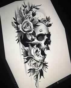 Clock Tattoo Design, Skull Tattoo Design, Tattoo Design Drawings, Tattoo Sketches, Tattoo Designs, Skull Rose Tattoos, Body Art Tattoos, Sleeve Tattoos, Skull Sleeve