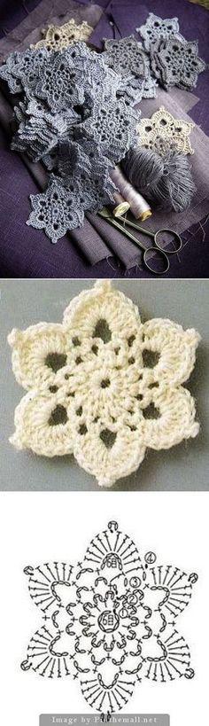 Hexagon crochet flower