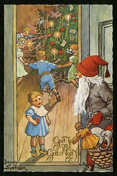 """Vintage """"God Jul """" Christmas postcard,by Jenny Nyström,illustrator. """"Merry Christmas and Happy New Year"""""""