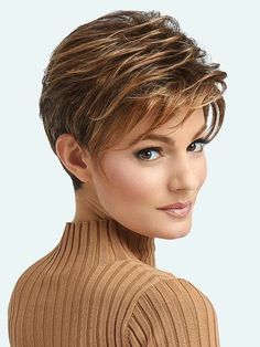 Buy Women's Fashion Short Wigs Pretty Pixie Cut Hairstyle Natural Straight Hair Party Wigs Mixed Color Wig Brown and Blonde Synthetic Wigs with Bang Daily Wigs Easy Wear at Wish - Shopping Made Fun Short Wigs, Short Pixie, Short Hair Cuts, Short Hair Styles, Pixie Cuts, Frontal Hairstyles, Wig Hairstyles, Straight Hairstyles, Hairstyle Ideas