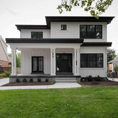 39 most popular dream house exterior design ideas 17 - . - - 39 most popular dream house exterior design ideas 17 Best Picture For co - Town Country Haus, House Ideas, Dream House Exterior, House Exteriors, Black Trim Exterior House, Black Windows Exterior, Simple House Exterior, White Siding, House Facades
