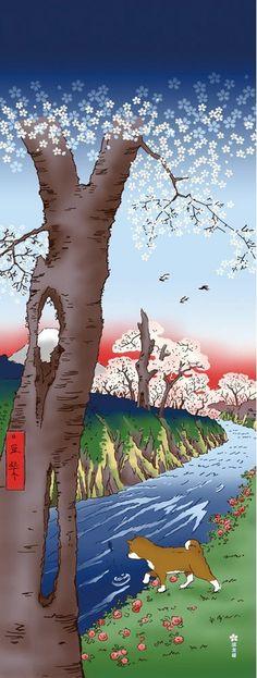 Japanese Tenugui Towel Cotton Fabric, Japanese Shiba Dog, Cherry Blossom, Puppy, Hand Dyed Fabric, Modern Art Fabric, Home Decor, JapanLovelyCrafts
