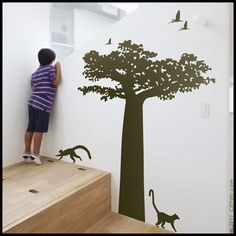 Special for Kristelle - Baobab tree from Madagascar with birds decal, vinyl sticker, home decor, wall art