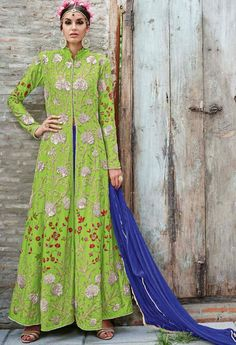 Green Crepe Designer Lehenga With Embroidery Work..@ fashionsbyindia.com #designs #indian #fashion #womens #style #cloths #fashion #stylish #casual #fashionsbyindia #punjabi #suits #dress #wedding #lehenga #choli