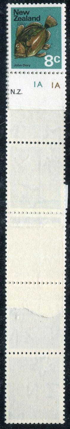 Stamps - Errors #325924 NZ Error 1970 Pictorials, 8c John Dory strip 10 with double paper reel join, Unique with Plate 1A selv, CPcat P11a(z) ...